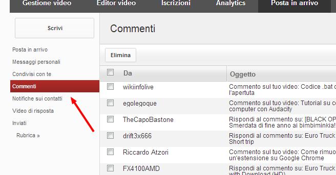 Come guardare i commenti pubblicati sul tuo canale e le risposte 105dse10
