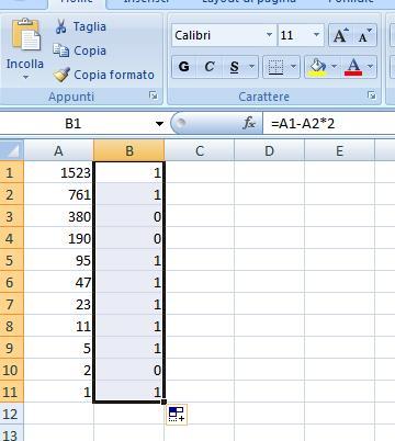 Trasformare da un numero decimale ad un numero binario sul foglio di calcolo Calcbi10