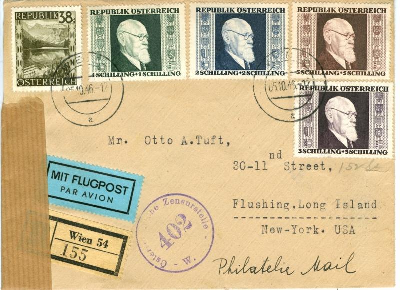Postgebühren Flugpost Österreich 1946 Brief_10