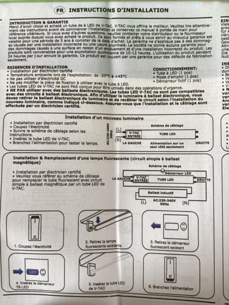 Changement tube néon T8 18W Aquatlantis par équivalent LED pour 5 euros maxi Fichie55