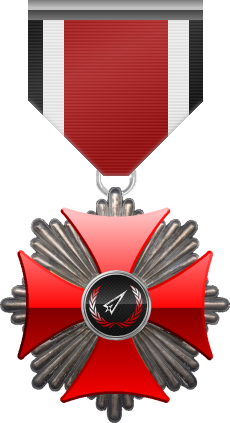Silver level of Red Cross of the Silver Arrows - This award is given to a member who participated in a number of assignments in hostile territory. Silver level is the second of six.