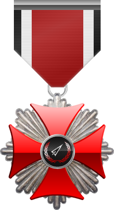 Platinum level of Red Cross of the Silver Arrows - This award is given to a member who participated in a number of assignments in hostile territory. Platinum level is the fourth of six.