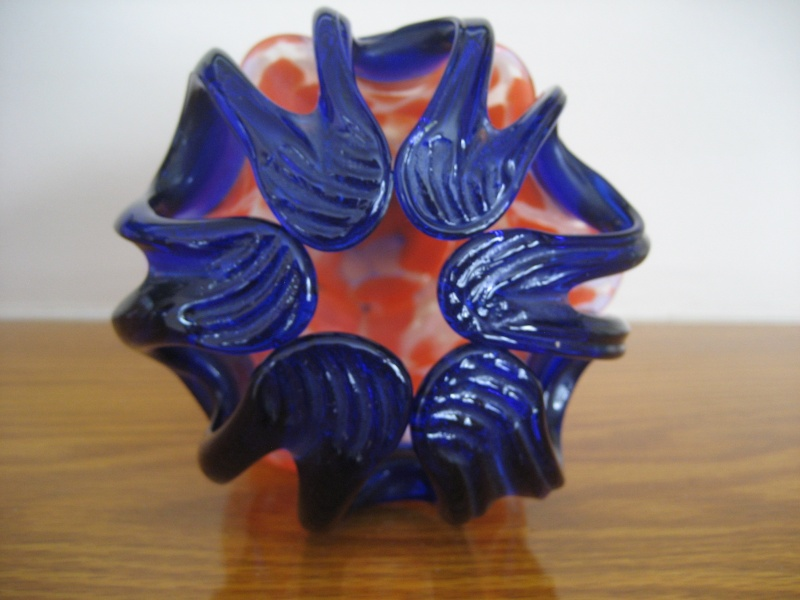1920's Vase - Red/White Spatter Glass? w/Blue, Czech? Img_3813