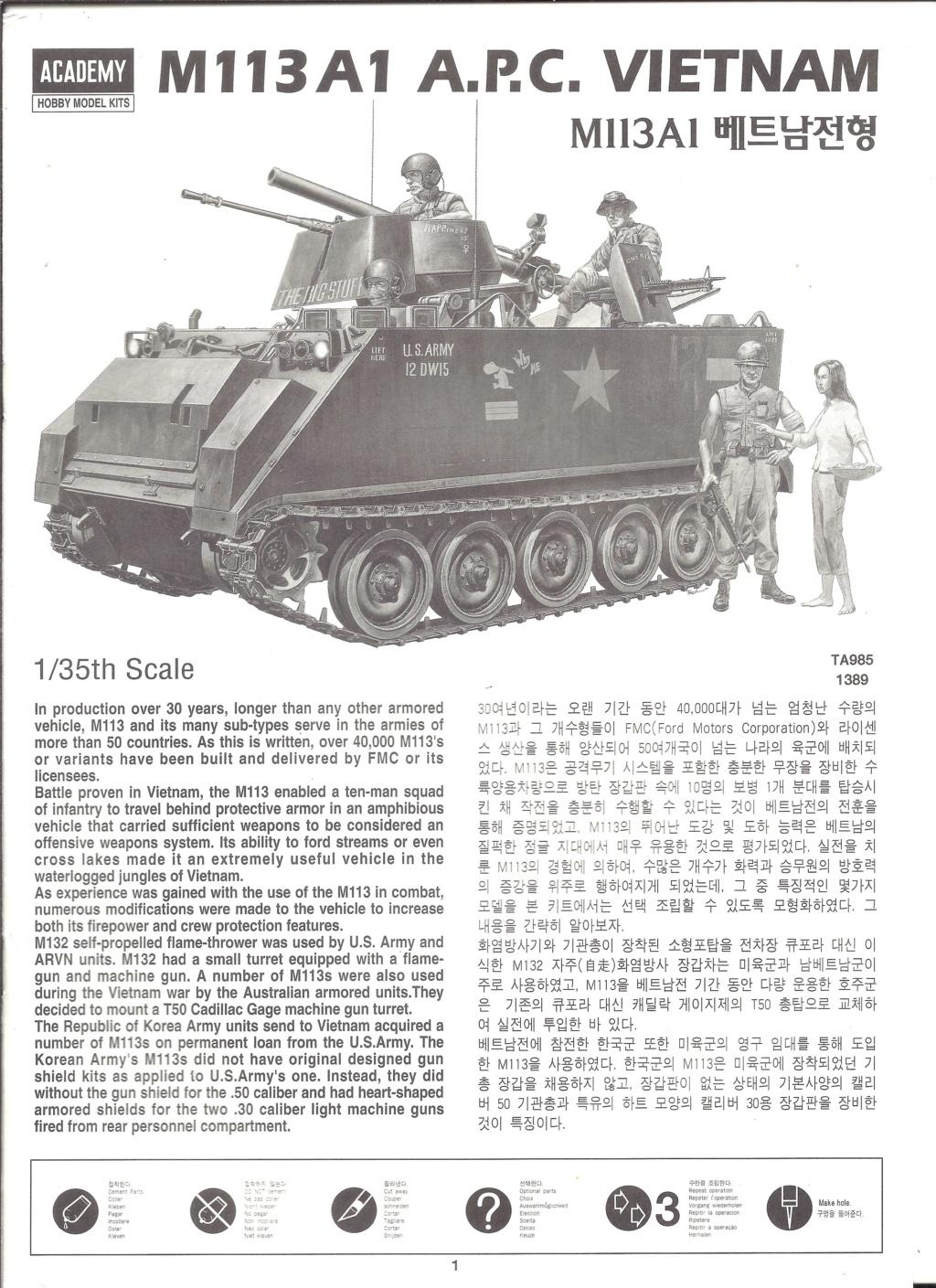 [ACADEMY]  M113A1 Guerre du VIETNAM 1/35ème Réf 1389 Notice Academ31