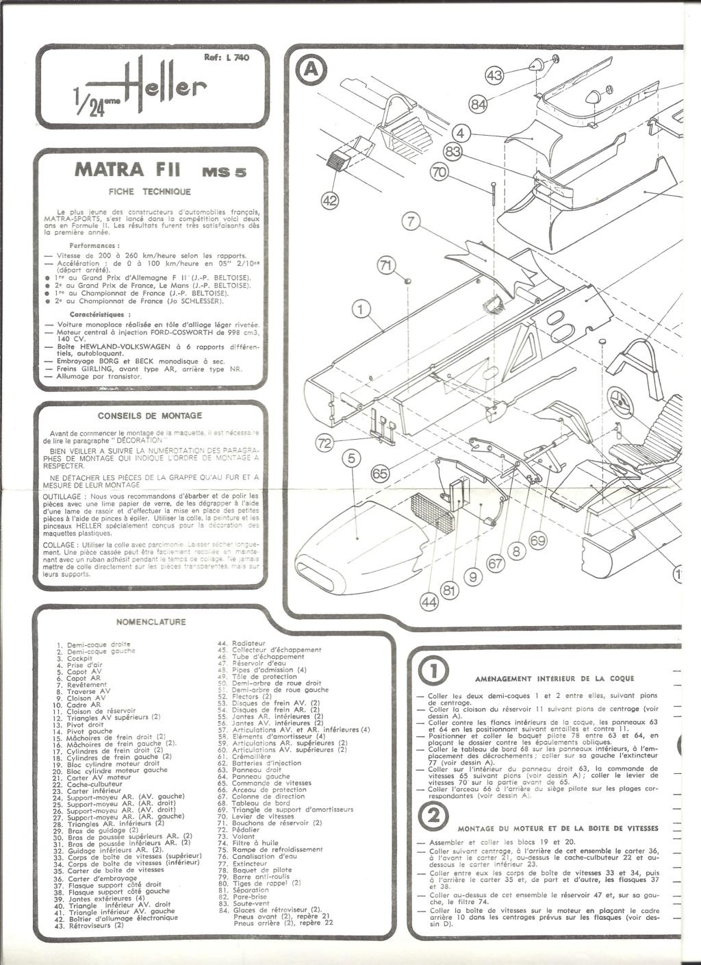 MATRA COSWORTH Formule II 1/24ème  Réf L740 Notice Helle189