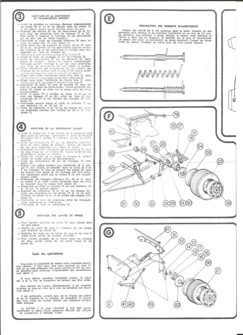 MATRA COSWORTH Formule II 1/24ème  Réf L740 Notice Helle190