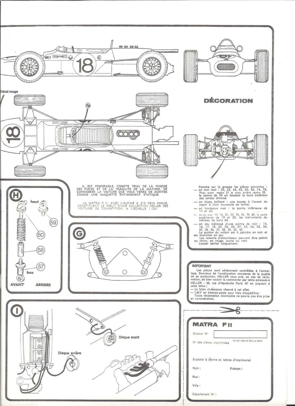 MATRA COSWORTH Formule II 1/24ème  Réf L740 Notice Helle191