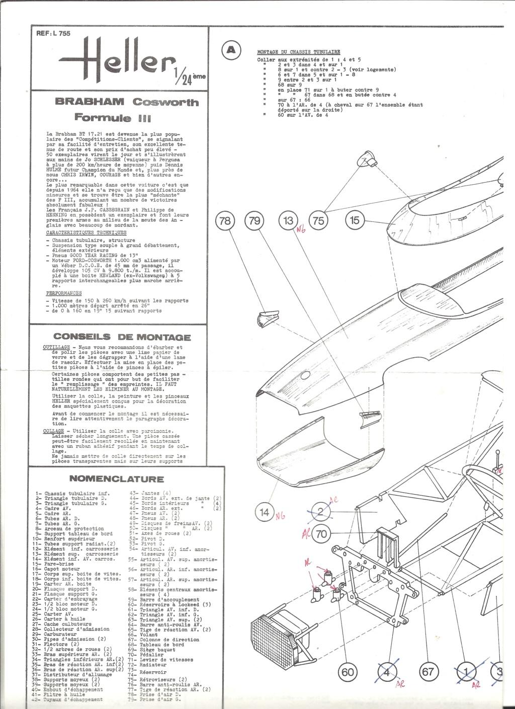 BRABHAM COSWORTH Formule III 1/24ème Réf L755 Notice Helle195