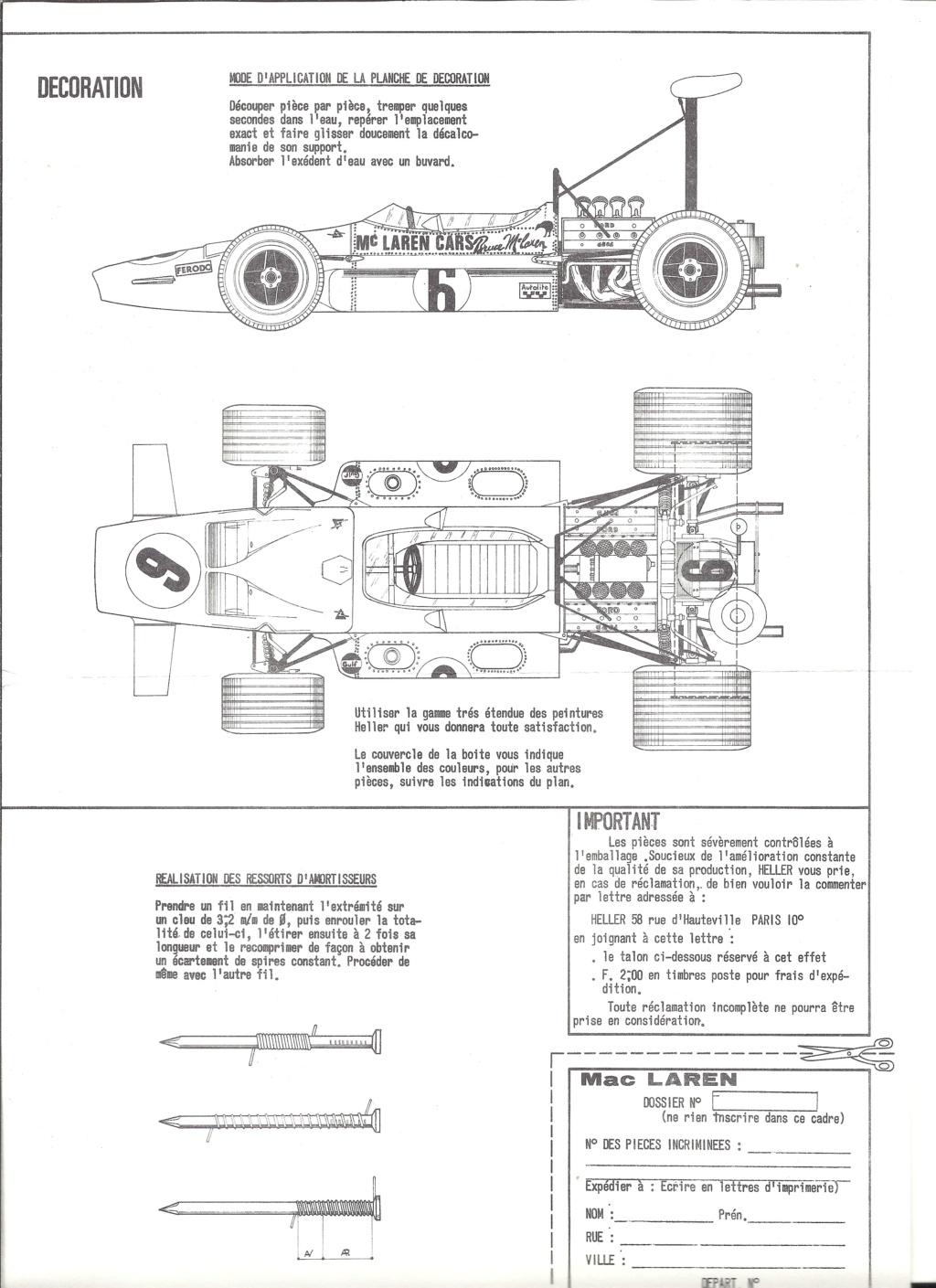 McLAREN M7A Formule I 1/24ème Réf L757 Notice Helle203