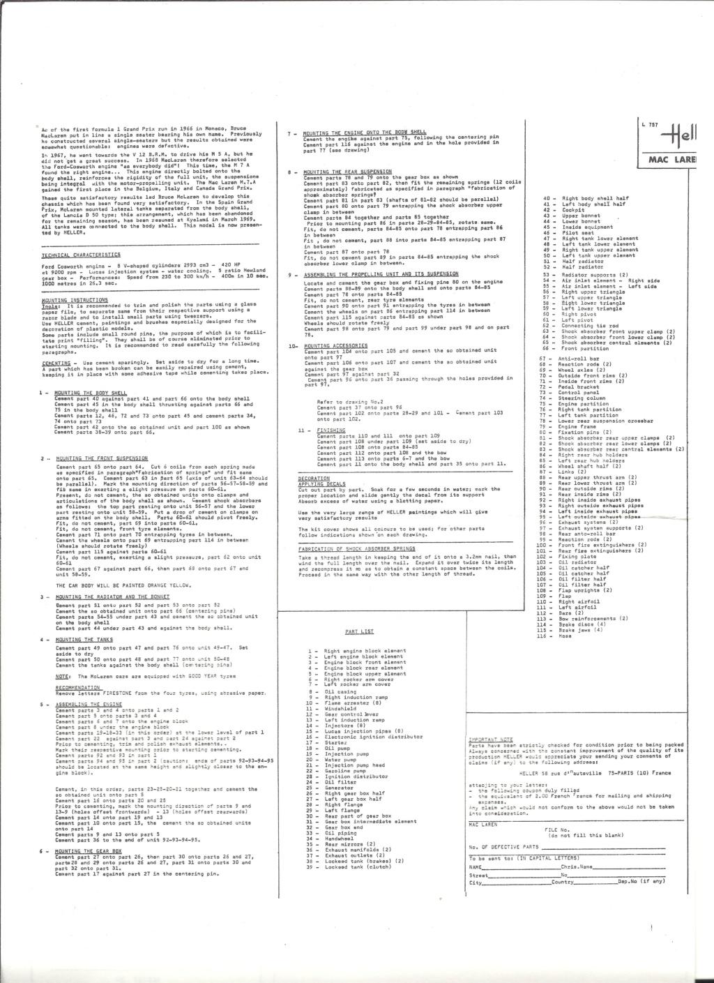McLAREN M7A Formule I 1/24ème Réf L757 Notice Helle204