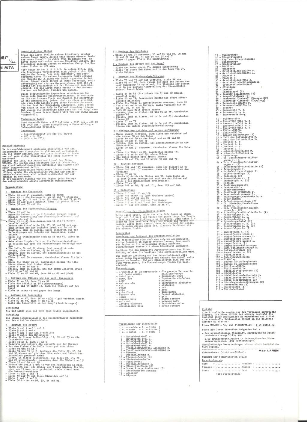 McLAREN M7A Formule I 1/24ème Réf L757 Notice Helle205