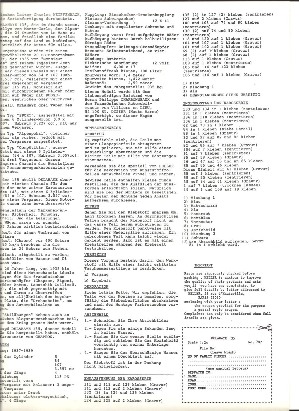 DELAHAYE 135 1/24ème Réf 707 Notice Helle926
