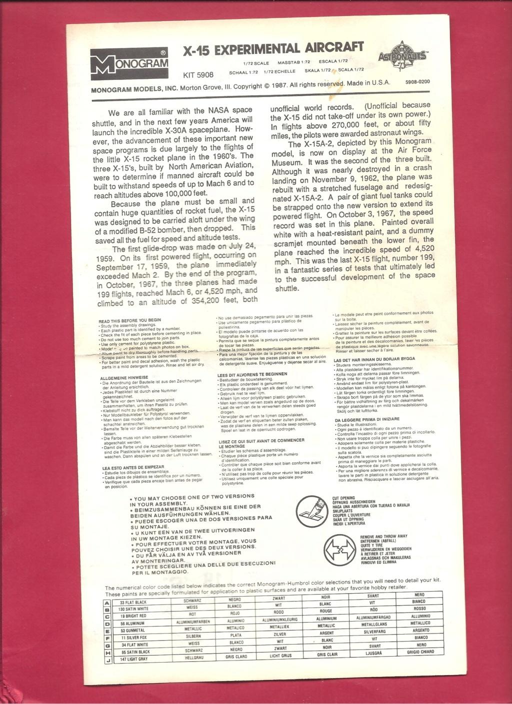 [MONOGRAM] NORTH AMERICAN X 15 1/72ème Réf 5908 Monog123