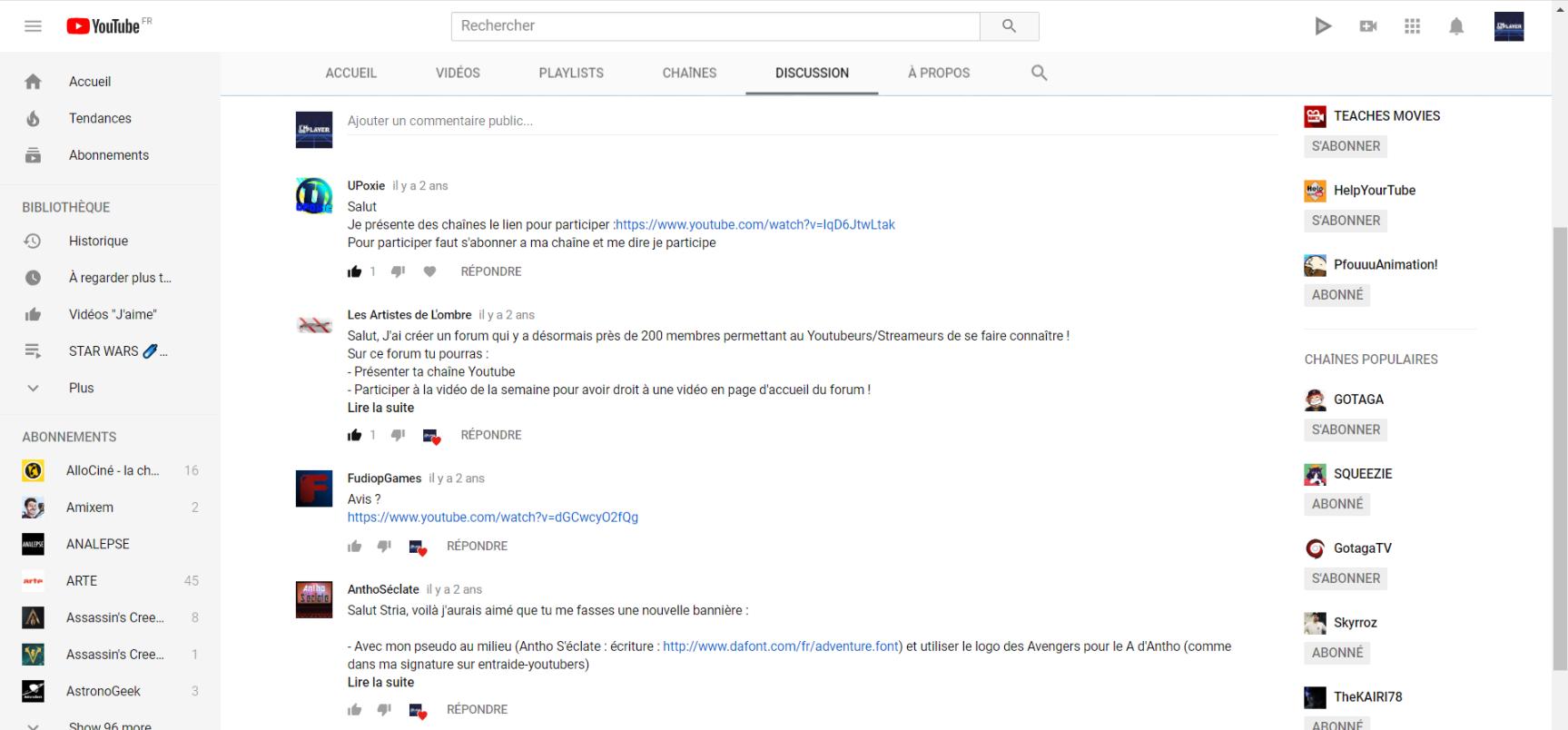 """Utilisez vous l'onglet """" discussion"""" sur YouTube? Croqui11"""