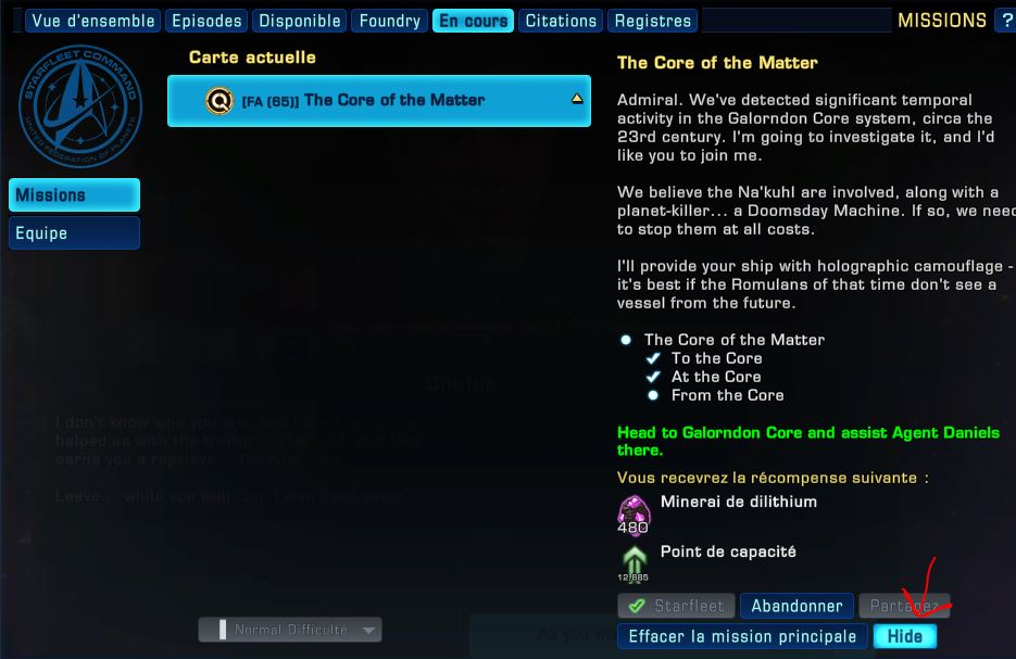 "XP avec la mission ""The core of the matter"" Captu495"