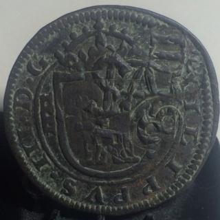 8 maravedís de Felipe III de Segovia, 1618, resellados. 2310