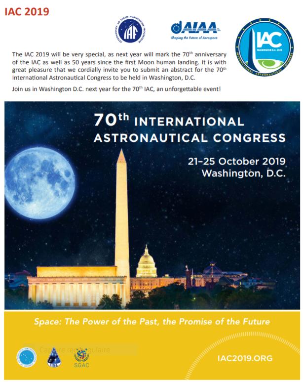Congrès astronautique IAC 2018 Iac1910
