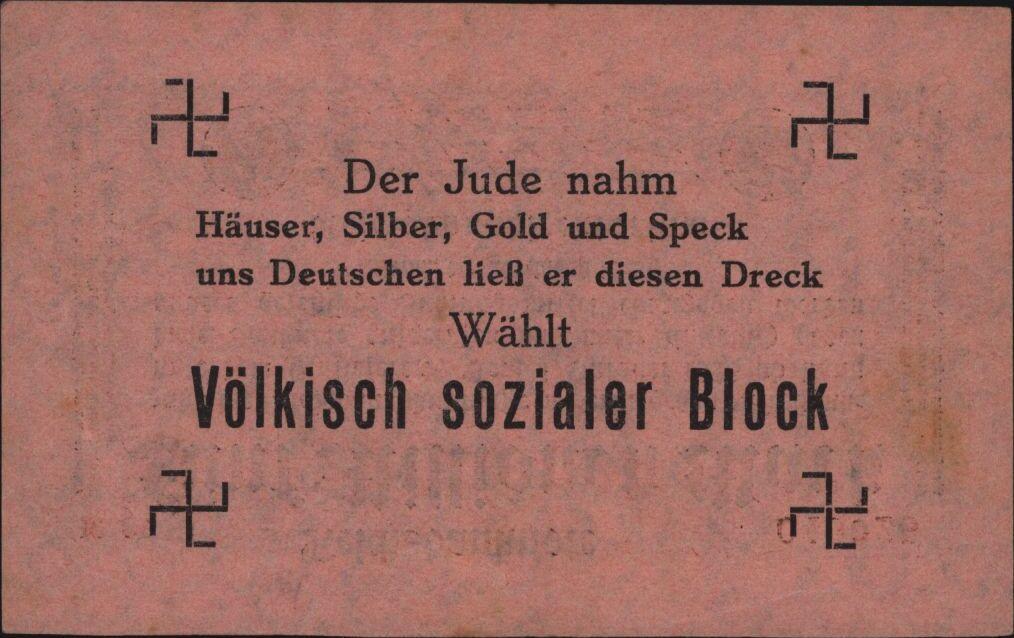 Eine Million Mark 1923 con una sobreimpresión de propaganda virulenta. - Página 4 26835611