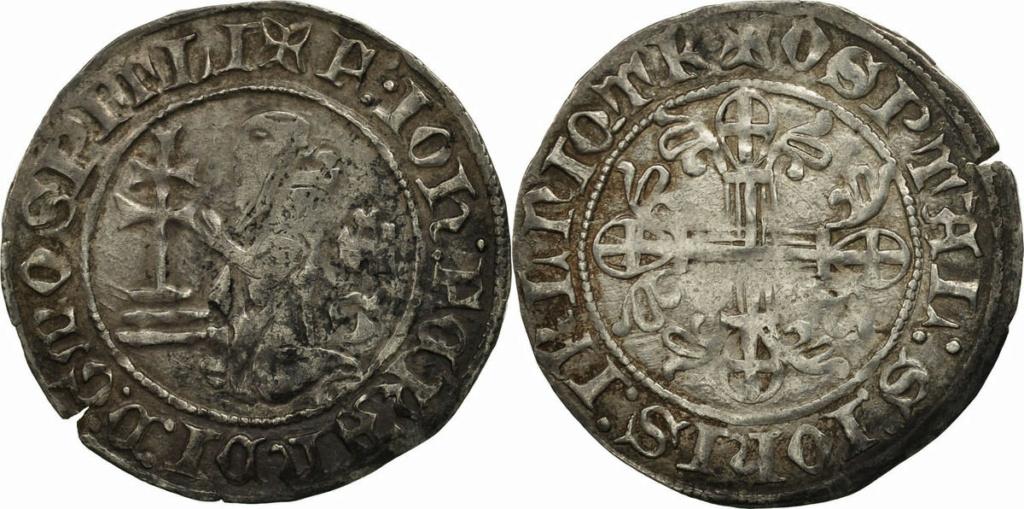 Gigliato de Frey Juan Fernández de Heredia (1376-1396) acuñado por la Orden de San Juan de Jerusalén, en Rodas.  Combin17
