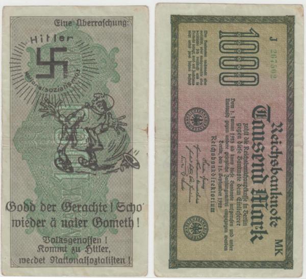 Eine Million Mark 1923 con una sobreimpresión de propaganda virulenta. Img_2064
