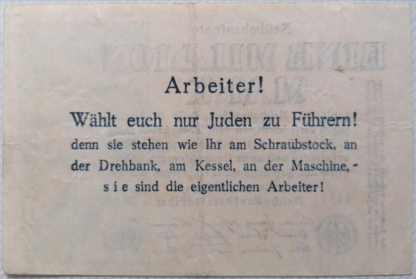 Eine Million Mark 1923 con una sobreimpresión de propaganda virulenta. - Página 3 Img_2179