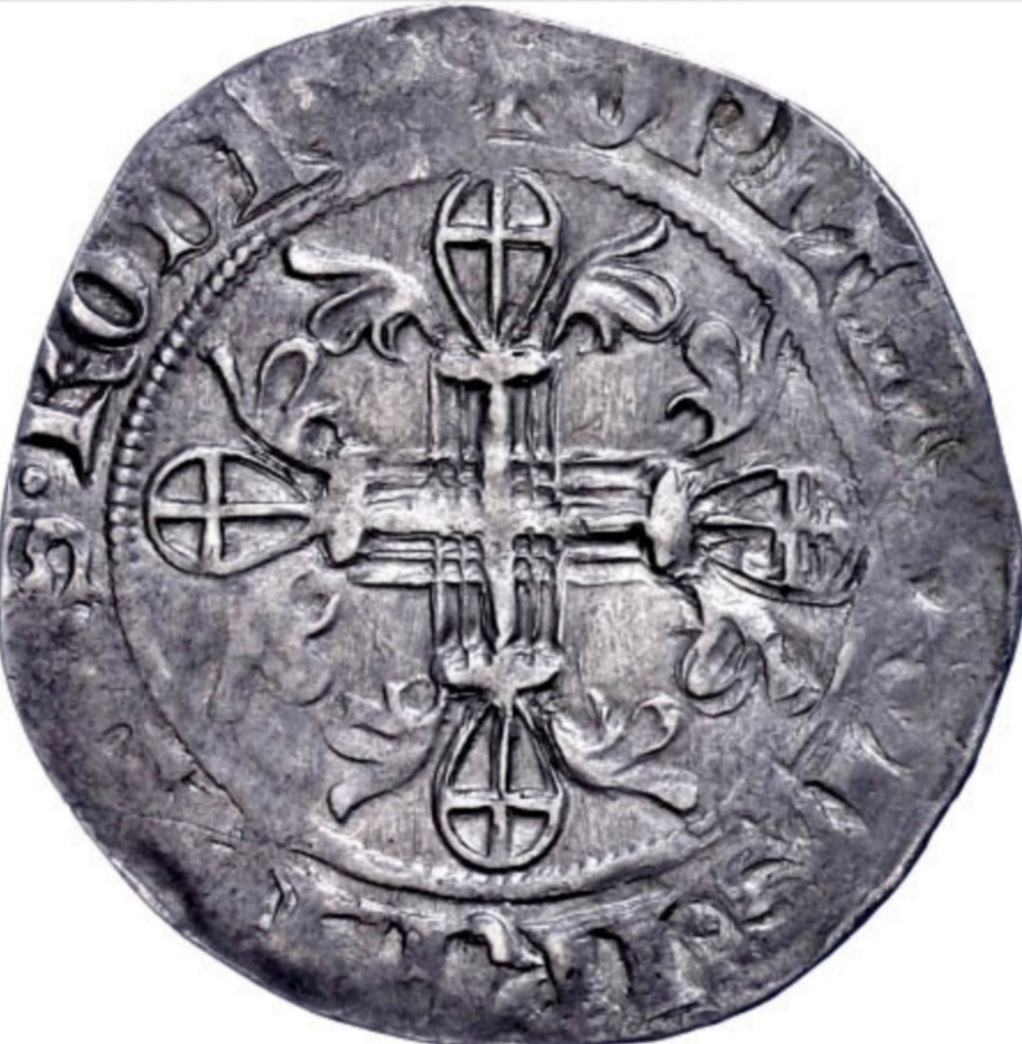 Gigliato de Frey Ramón Berenguer (1365-1374) acuñado por la Orden de San Juan de Jerusalén, en Rodas.  Scree136