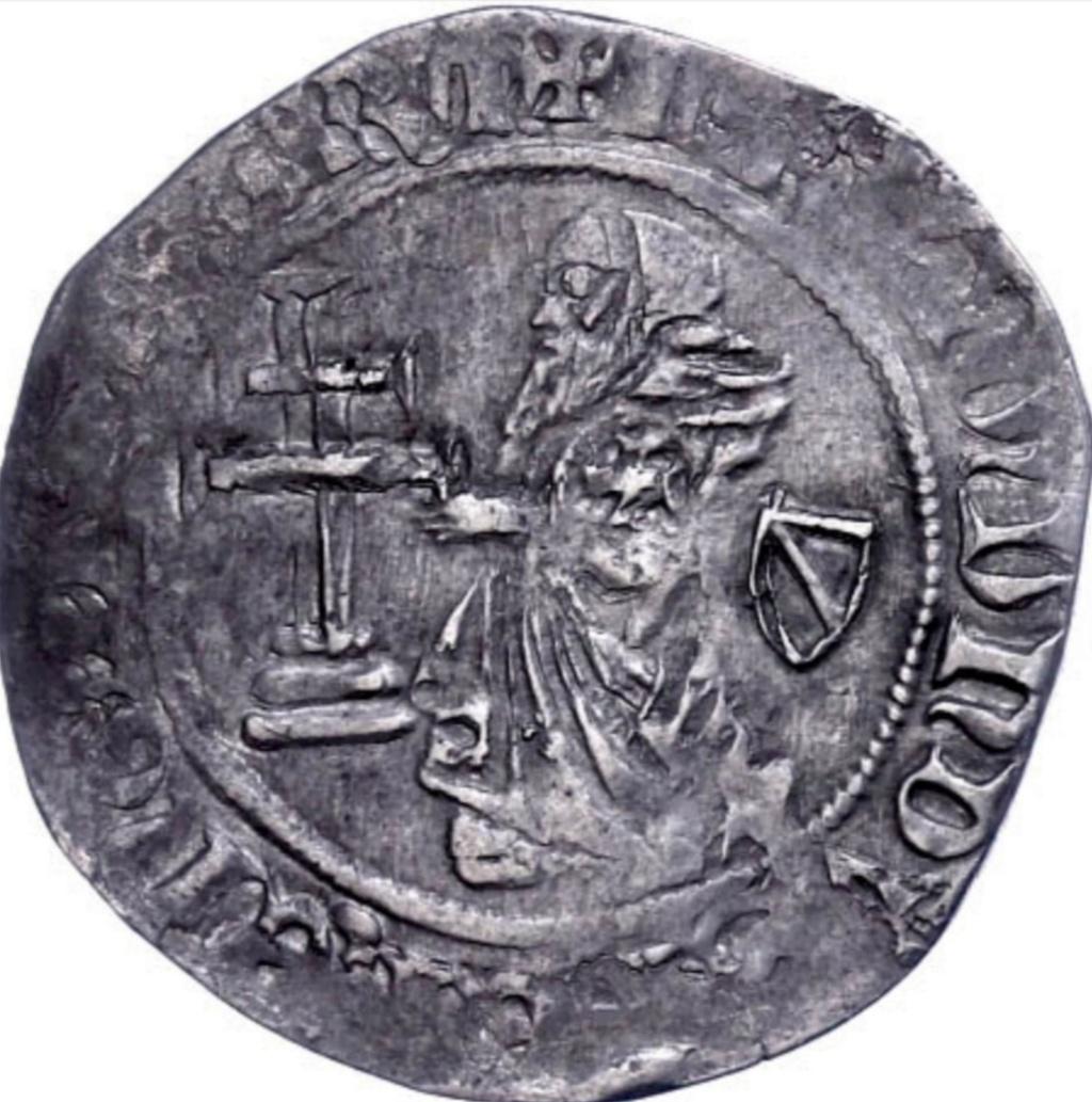 Gigliato de Frey Ramón Berenguer (1365-1374) acuñado por la Orden de San Juan de Jerusalén, en Rodas.  Scree137