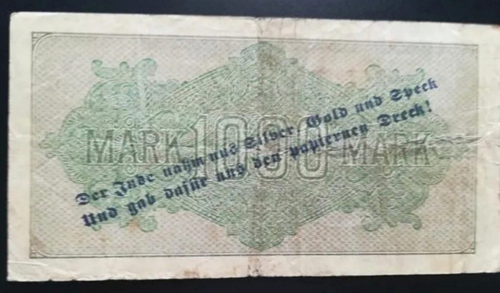 Eine Million Mark 1923 con una sobreimpresión de propaganda virulenta. Screen15
