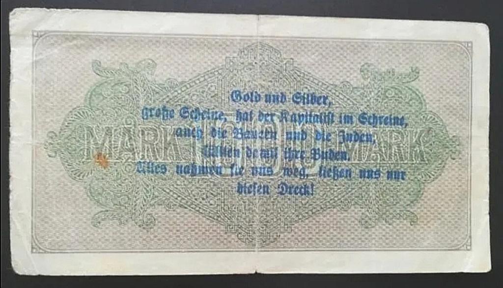 Eine Million Mark 1923 con una sobreimpresión de propaganda virulenta. Screen16
