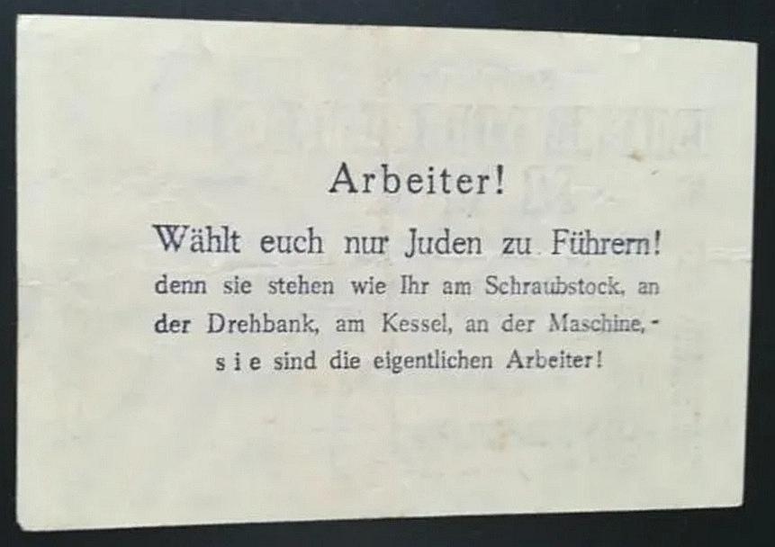Eine Million Mark 1923 con una sobreimpresión de propaganda virulenta. Screen17