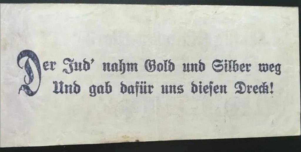 Eine Million Mark 1923 con una sobreimpresión de propaganda virulenta. Screen18