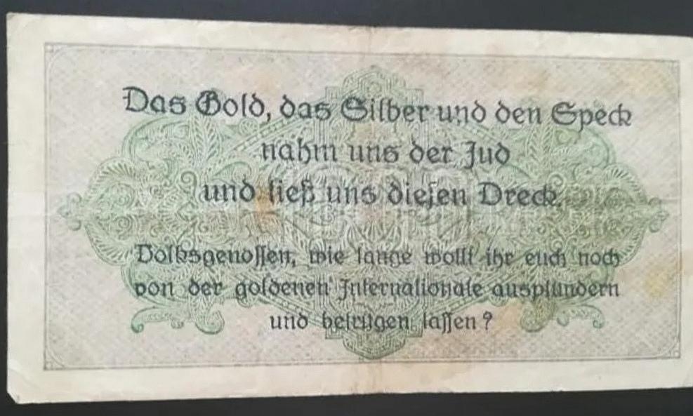 Eine Million Mark 1923 con una sobreimpresión de propaganda virulenta. Screen20