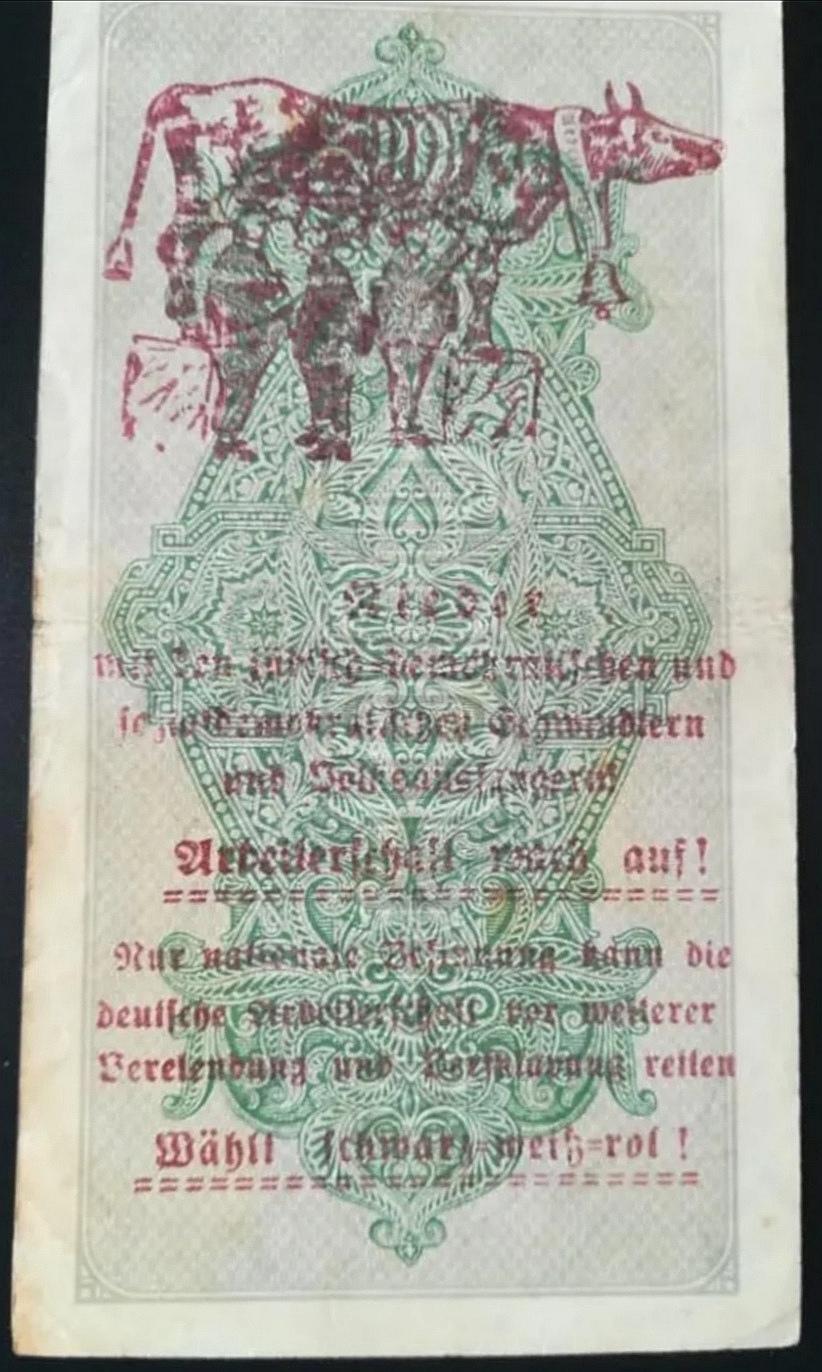 Eine Million Mark 1923 con una sobreimpresión de propaganda virulenta. Screen21