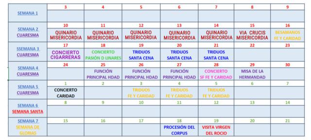 CALENDARIO DE CULTOS Y ACTOS  Img_2281
