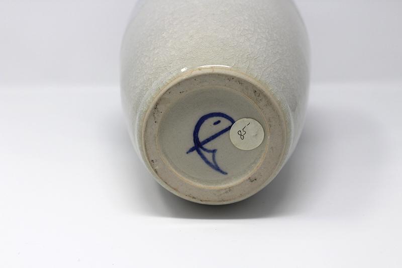 Dark Burgundy and White Vase with colbalt blue mark Img_0315