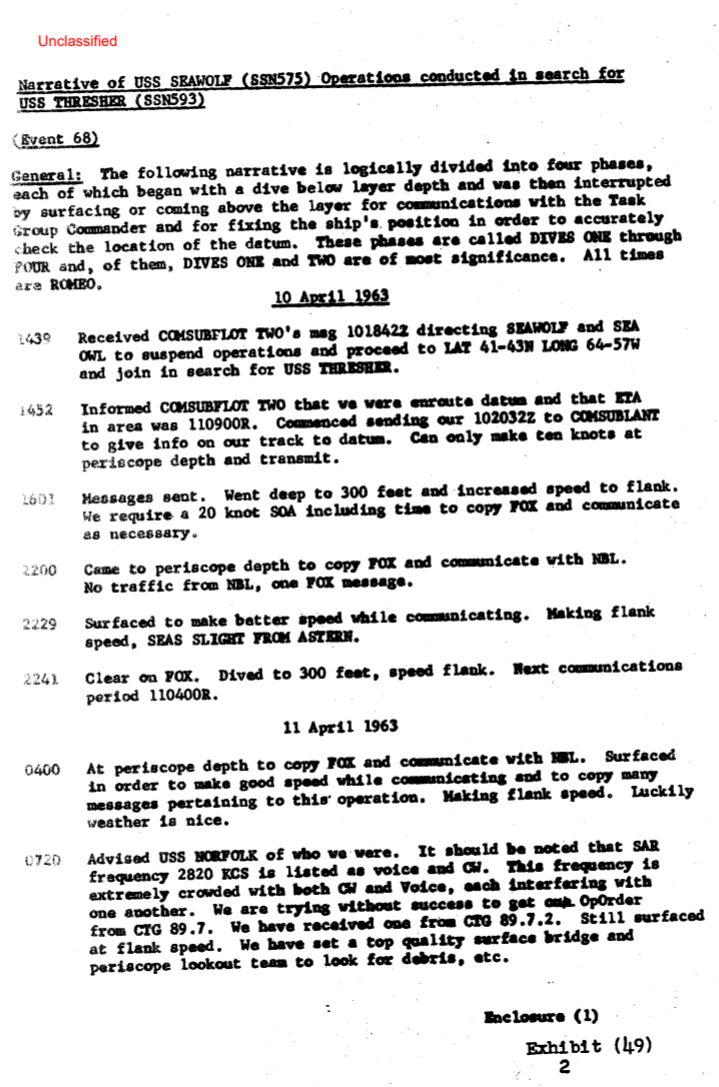 U.S Navy documents declassified, SSN thresher had survivors on board. 12010
