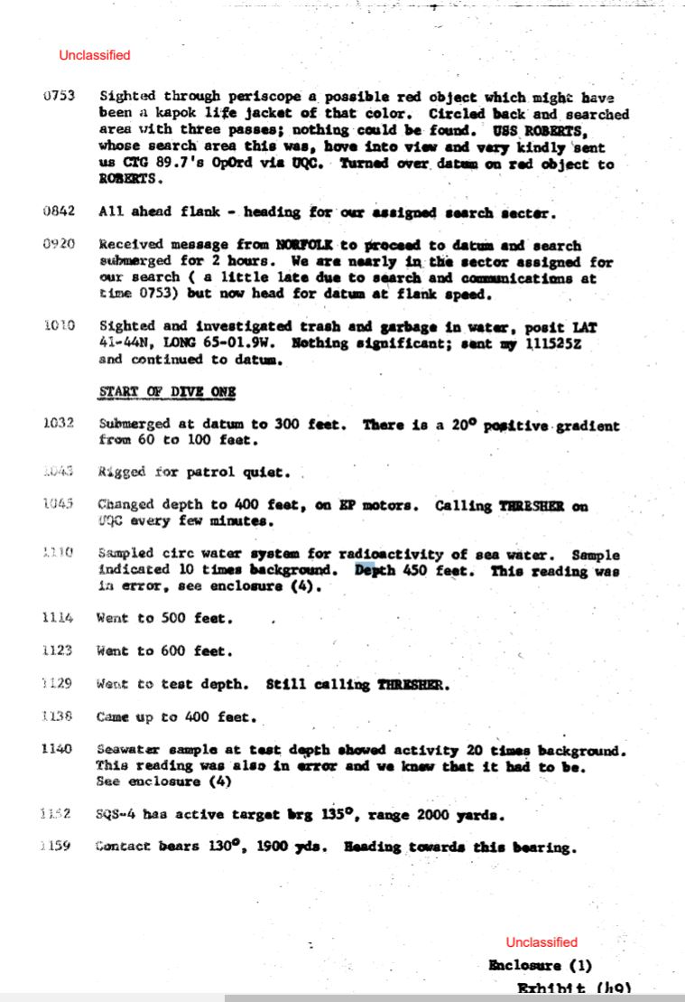 U.S Navy documents declassified, SSN thresher had survivors on board. 12110