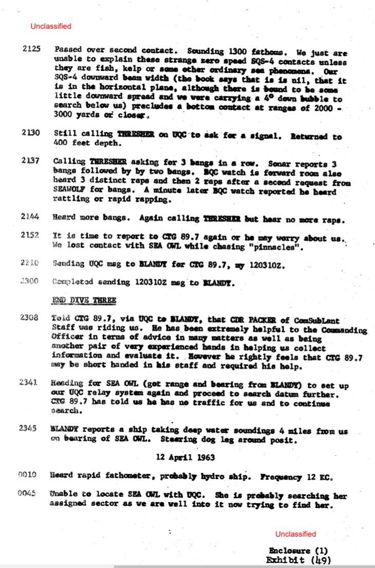 U.S Navy documents declassified, SSN thresher had survivors on board. 12910