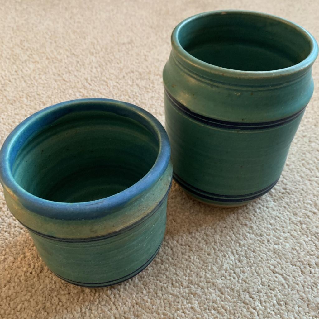 Pair of Green Ceramic Planters ID Help Img_1325