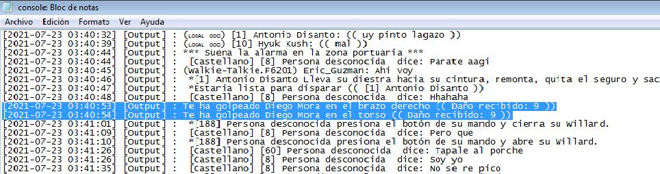 Reporte Diego Mora y Esquina (PG-MG-DM-NRE-NRA-mal uso de canales-anti rol general) Log110
