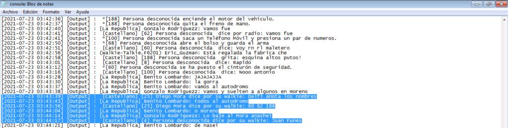 Reporte Diego Mora y Esquina (PG-MG-DM-NRE-NRA-mal uso de canales-anti rol general) Log210