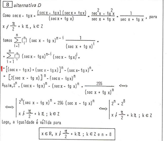 ITA-86-Q. 8: Solução da equação trigonométrica R10
