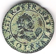 Denier tournois 1618 R LOYS XIII Photo_13