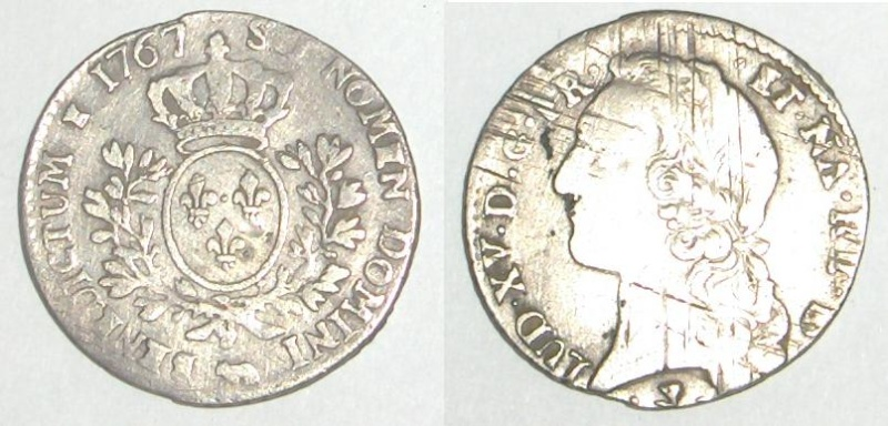 Louis XV 1/5 ou 1/10 d' Ecu du Béarn 1767 frappé à Pau Louis11