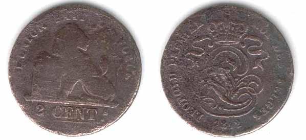 2 centimos de Leopoldo I (Belgica, 1842 d.c) Dos_ce10