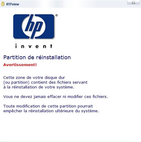 Formatage de PC HP Partit10
