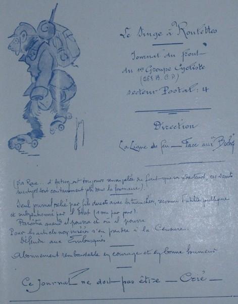 Journal du front du 1er groupe cycliste Singe10