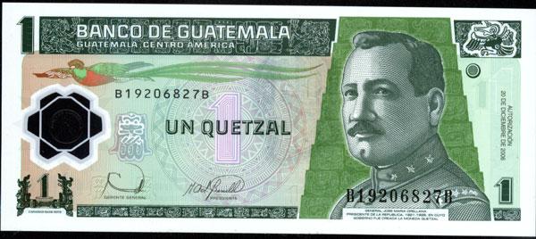 Nuevo billete de 1 quetzal, Guatemala 1_quet10