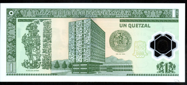 Nuevo billete de 1 quetzal, Guatemala 1_quet11