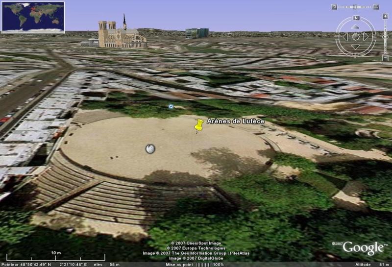 Antiquités romaines sous l'oeil de Google Earth Arenes10